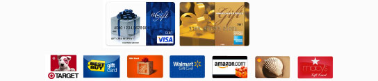 Image of available gift cards